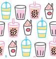 cartoon cute summer drink seamless pattern vector image