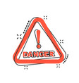 cartoon danger icon in comic style attention vector image vector image