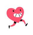 character heart a running living heart flat vector image