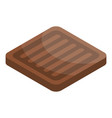 chocolate square biscuit icon isometric style vector image