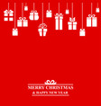 christmas greeting card with hanging gifts vector image