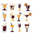 cocktails set set silhouettes of Cocktail glasses vector image vector image
