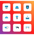 construction icons colored set with construction vector image