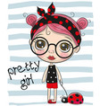 cute cartoon girl with big glasses vector image vector image