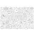 delivery from line icon with word vector image vector image