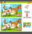 differences game with farm animals group vector image vector image