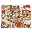 doodle brown modern art for coffee vector image vector image