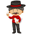 Farmer holding chicken and egg vector image vector image