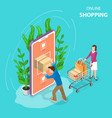 flat isometric concept of mobile shopping vector image vector image