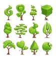 Funny cartoon fantasy shape tree set vector image