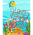 Game template with fish and coral reef vector image vector image