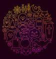 halloween line icon circle concept vector image