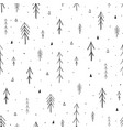 hand drawn forest seamless pattern vector image