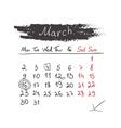 Handdrawn calendar March 2015 vector image vector image