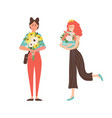 happy women with flowers flat cartoon style vector image