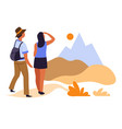 hikers couple and sunrise in mountains traveling vector image vector image