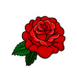 icon of bright rose bud with two green vector image vector image