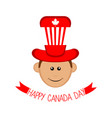 isolated male avatar with canadian hat canada day vector image