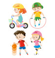 kids doing different types of exercises vector image vector image