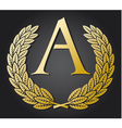 Letter a and gold laurel wreath gold letter a vector | Price: 1 Credit (USD $1)