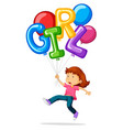 little girl and balloons for word girl vector image vector image