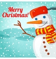 Merry Christmas greeting card with cute snowman vector image vector image