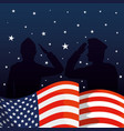 military men silhouettes with usa flag vector image vector image