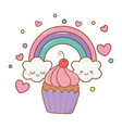 muffin and rainbow vector image vector image