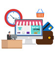 online store buying in internet selling on site vector image