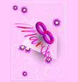 postcard to 8 marchpale pink card vector image