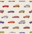 seamless pattern with automobiles of various types vector image