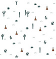 seamless pattern with indian tents and cacti vector image