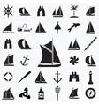 set icons on theme travel sea vector image