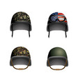 set military helmet with glasses and usa flag vector image