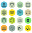 set of 16 education icons includes graduation vector image vector image