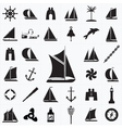 Set of icons on the theme of travel by sea vector image