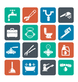 Silhouette plumbing objects and tools icons