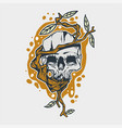 skull and tree roots vector image vector image