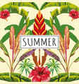slogan summer tropical leaves and flowers yellow vector image