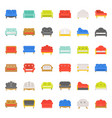 sofa and chair flat design icon set vector image vector image