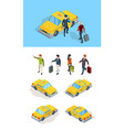 taxi service travellers passengers call taxi with vector image vector image