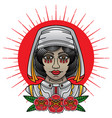 traditional nurse tattoo vector image vector image