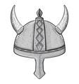 viking horned helmet hand drawn sketch vector image