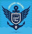 Vintage label with anchor maritime vector image vector image