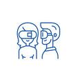 virtual glasses line icon concept virtual glasses vector image