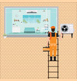 worker man climbing ladder to repair air vector image