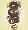full color asian dragon tattoo vector image