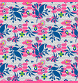 floral lace blue and pink seamless pattern vector image
