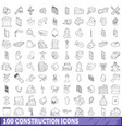100 construction icons set outline style vector image vector image