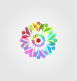 abstract overlapping colorful flower mandala vector image vector image